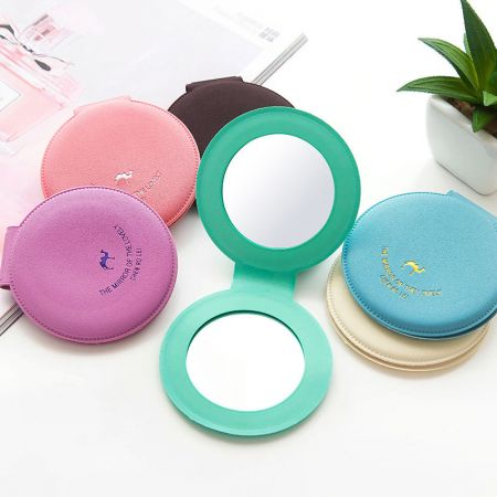 Round Leather Small Compact Mirror