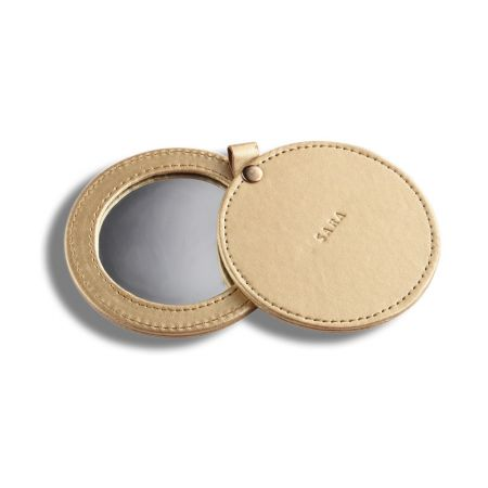 Round Slide-open Leather Compact Mirror