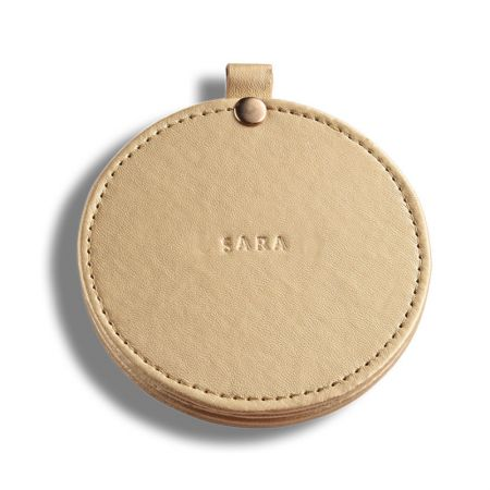 Custom Color Round Slide-open Leather Flat Mirror