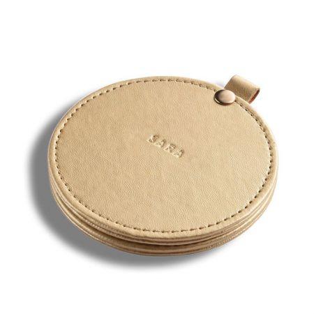 Round Slide-open Leather Souvenir Mirror