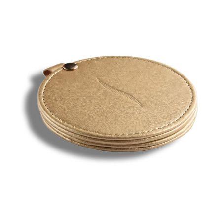Round Slide-open Leather Gift Mirror