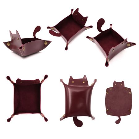 cute cat shape leather storage tray