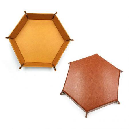 Hexagon leather jewelry storage tray