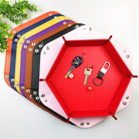 Hexagon leather key storage tray