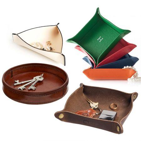 multifunctional leather storage tray
