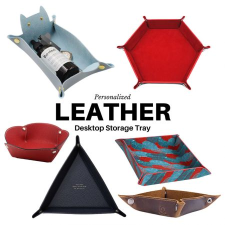 multifunctional leather storage tray