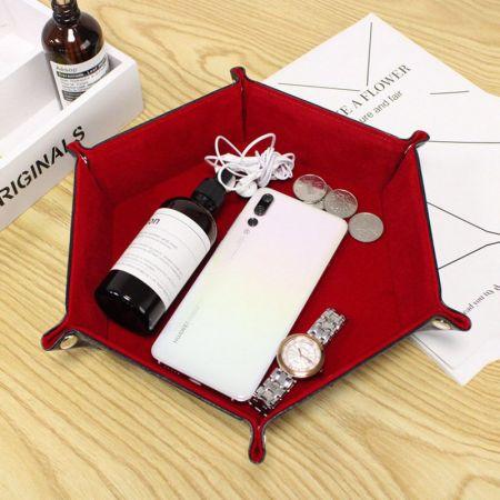 Hexagon leather storage tray