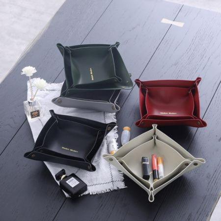 colorful leather jewelry storage tray with custom logos