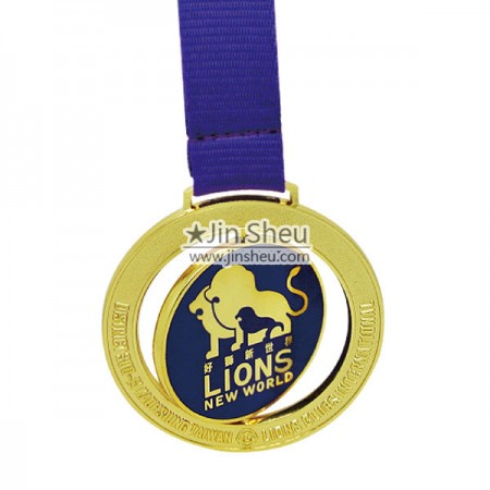 lion club spinning medal