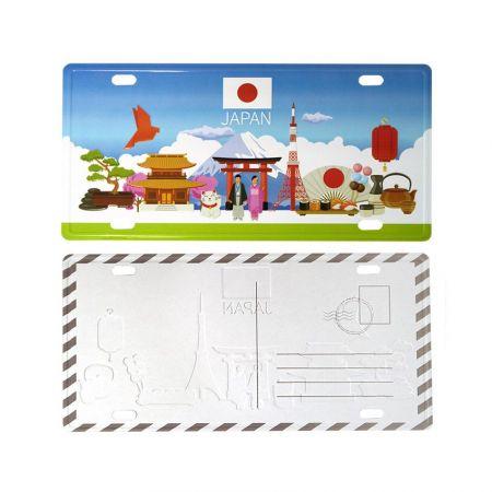 Japanese metal postcard with debossing logos