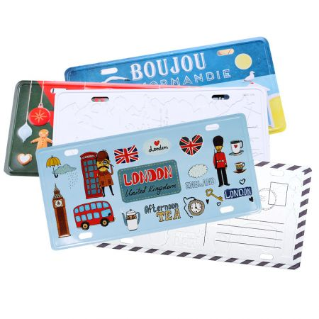 Custom Souvenir Metal Postcards & Mini License Plates - custom printing metal postal cards