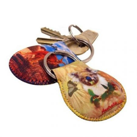 custom heat transfer printing neoprene key tags
