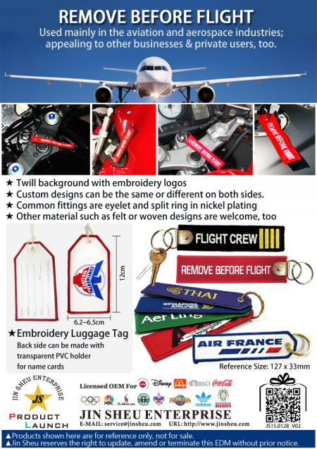 Embroidery Remove Before Flight Key Tags - Embroidery Remove Before Flight Key Tags