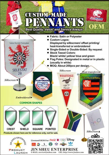Custom Football Club Pennants Flags Banners Hanging Flags - Custom Made Pennants