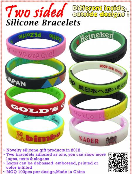 Two Sided Silicone Bracelets - Two Sided Silicone Bracelets