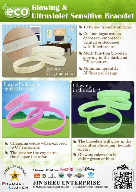 glowing & ultraviolet sensitive bracelet - glowing & ultraviolet sensitive bracelet