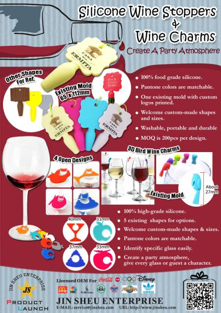 Silicone Wine Stoppers & Wine Charms - Silicone Wine Stoppers & Wine Charms