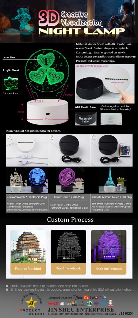 3D Creative Visualization Acrylic Night Lamp - Custom Made 3D Acrylic Night Lamp