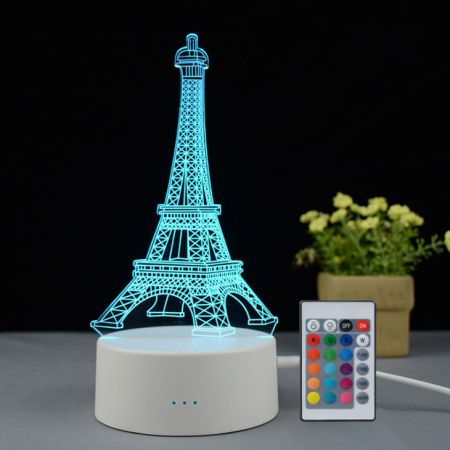 Paris Souvenir Eiffel Tower 3D creative visualization night light