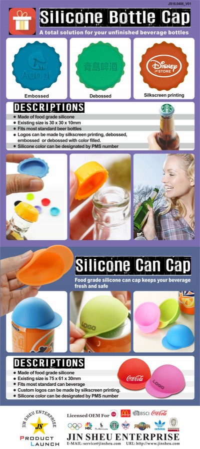 Custom Beverage Silicone Cap with your LOGO - Promotional Silicone Beer Cap and Can Cap