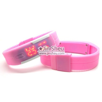 Pink Silicone LED Sport Wrist Watch - Pink Silicone LED Sport Wrist Watch