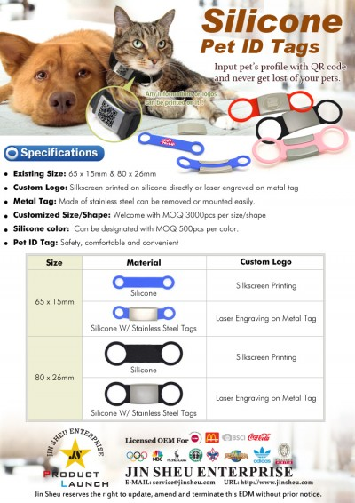 Silicone Pet ID Tags - Custom logos silicone pet id tags