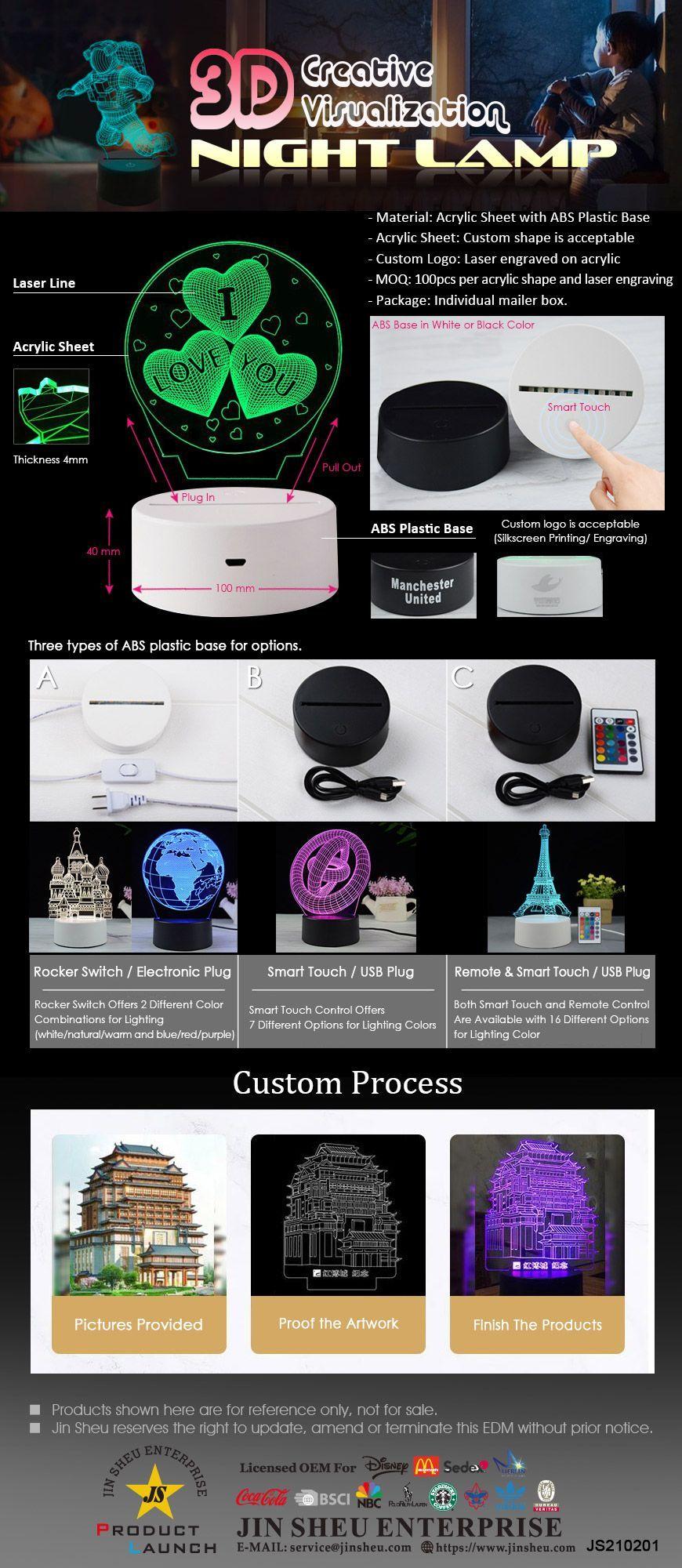 Custom Made 3D Acrylic Night Lamp
