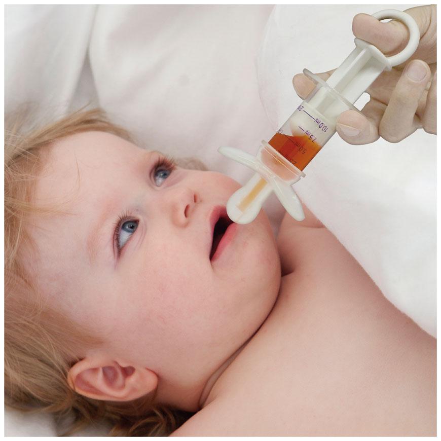 Le distributeur de médicaments de type sucette avec une conception anti-étranglement est une bonne aide pour nourrir bébé avec des médicaments.