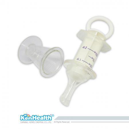 Medicine Feeder With Syringe - The medicine dispenser fits the baby's oral structure with pacifier design, allowing the user to feed the baby with medicine easily.