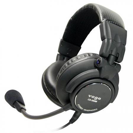 Close-back and Over-the-ear Stereo Headset with Dynamic Boom Microphone - Quality Stereo Headsets CD300M.