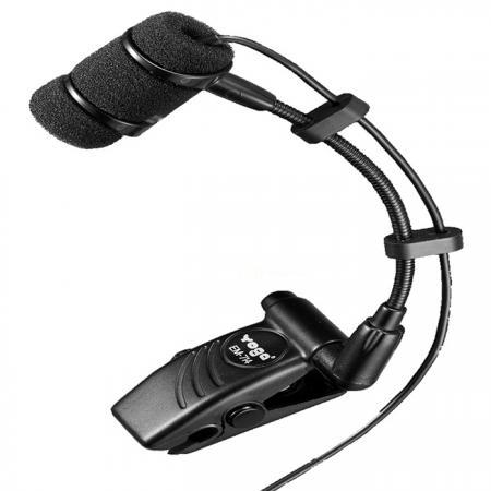 Clip-On Instrument Condenser Microphone for Wind / Brass Instruments, Using Phantom Power