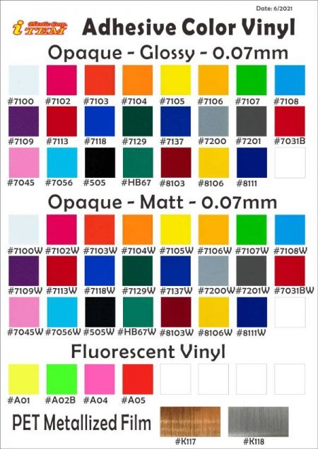Color Swatch-Opaque Vinyl (0.07mm)