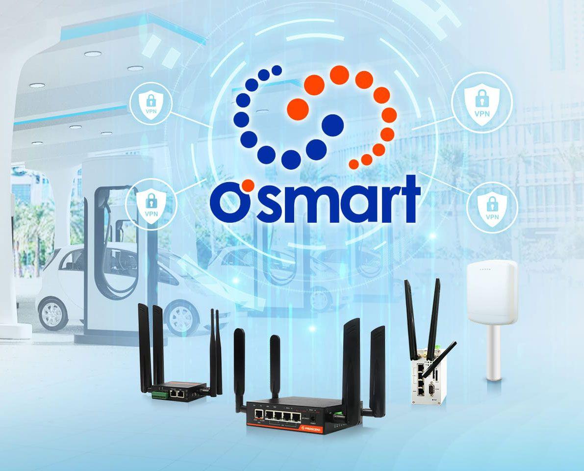 Proscend použil O'smart s priemyselnými mobilnými smerovačmi v sieťach nabíjacích staníc pre elektromobily.