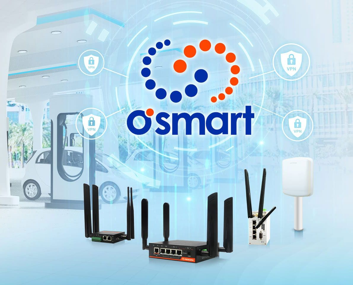 Proscend has applied O'smart with Industrial Cellular Routers in the networks of EV charging stations.