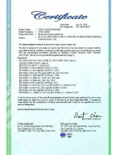 Extenseur Gigabit Ethernet 102MI-102M Certificat CE