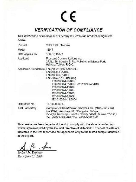 Industrial SFP Modem 180-C & 180-R & 180-T CE Certificate
