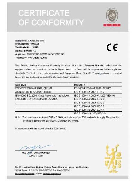 SHDSL TDM Modem 5099B Series CE Certificate