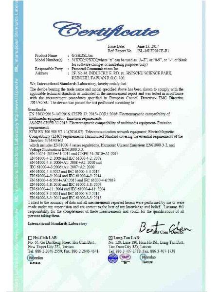 SHDSL EFM ATM VPN Router 5200N Series CE Certificate
