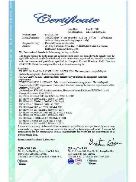 G.Shdsl.bis EFM Modem 5600N Series CE Certificate