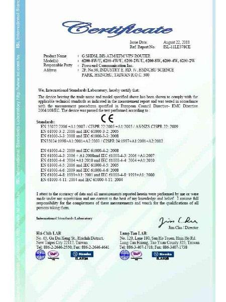 G.Shdsl.bis EFMATM VPN Router 6200N Series CE Certificate