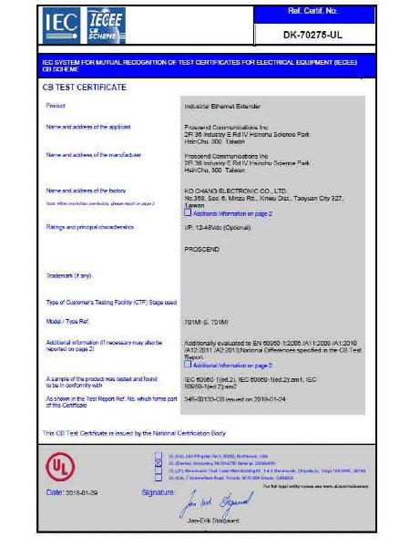 Industrial Ethernet Extender 701MI & 701MI-S CB Certificate