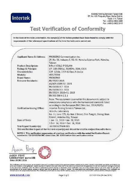 8-Port VDSL2 IP-DSLAM 708M CE Certificate