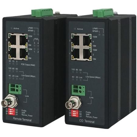 Industrial 4-Port Long Reach Power over Ethernet Extender