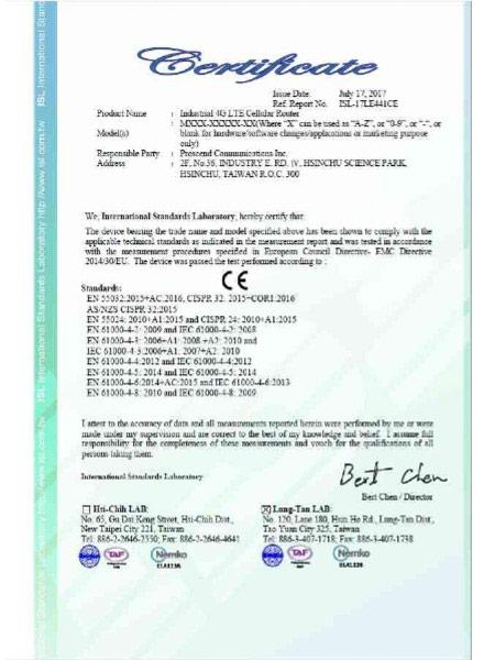 Industrial VPN IoT Cellular Router M30x CE Certificate