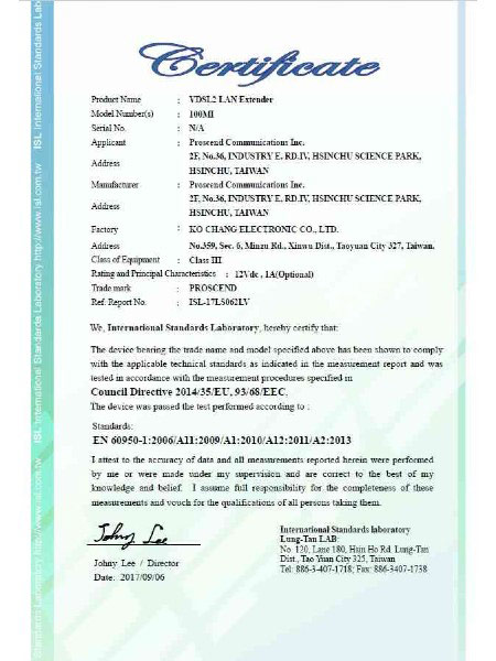 Lite Industrial Ethernet Extender 100MI EN60950-1 Certificate