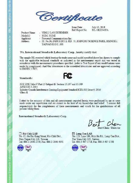 Certificat FCC Gigabit Ethernet Extender 102MI-102M