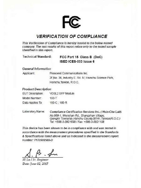 Industrial SFP Modem 180-C & 180-R & 1180-T FCC Certificate