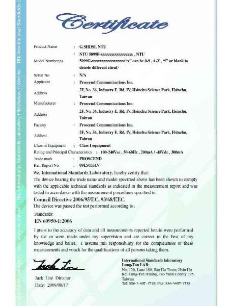 SHDSL TDM Modem 5099B Series EN60950-1 Certificate