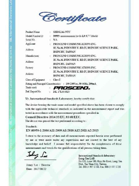 SHDSL TDM موڈیم 5099N سیریز EN60950-1 سند
