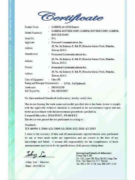 SHDSL EFM ATM VPN -reititin 5200N-sarjan EN60950-1 -sertifikaatti